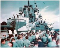 Mass held on deck of USS Iowa circa 1944