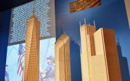 Scale model of the World Trade Center assembled from matchsticks (Photo: Slaven Vlasic/Getty Images)